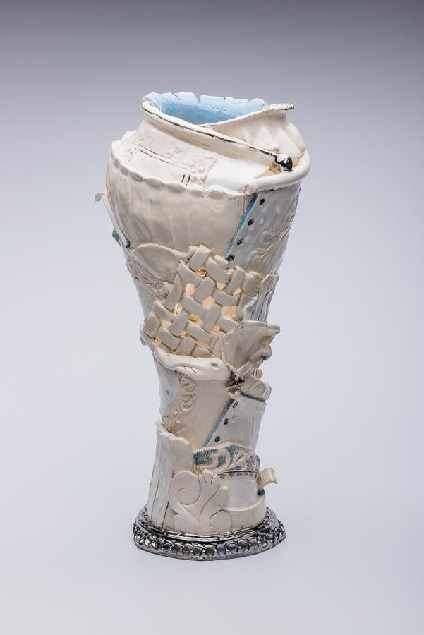 David Ray. Water, 2015. Earthenware and silver. 50 x 30 x 20cm  (601x900)
